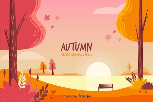 Fondo de otoño dibujado a mano estilo vector gratuito