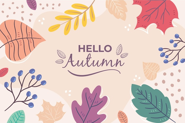 Fondo otoño dibujado a mano vector gratuito