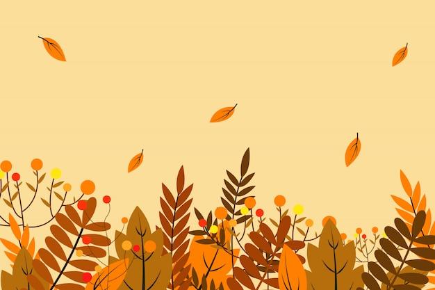Fondo de otoño con hojas Vector Premium