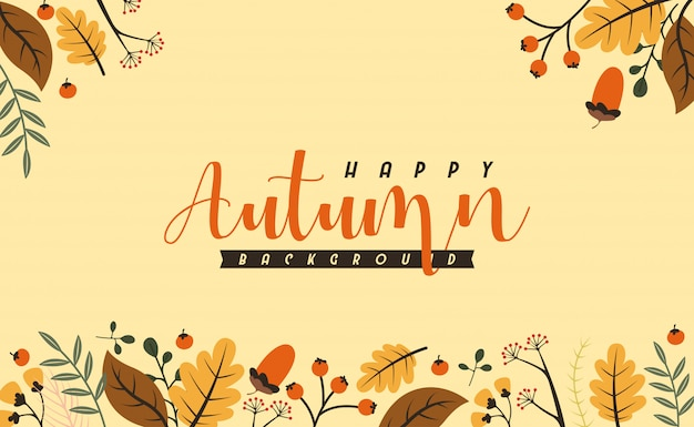 Fondo de otoño Vector Premium