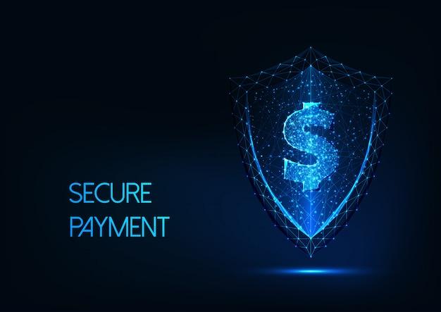 Fondo de pago seguro futurista con signo de dólar poligonal brillante bajo y escudo de protección Vector Premium