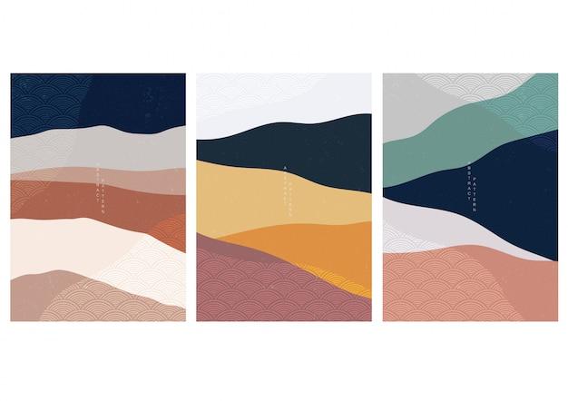 Fondo de paisaje abstracto con patrón de onda japonesa. plantilla de bosque de montaña. gráficos chinos en concepto de aventura. Vector Premium