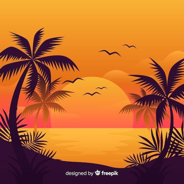 Fondo de paisaje de atardecer en la playa vector gratuito
