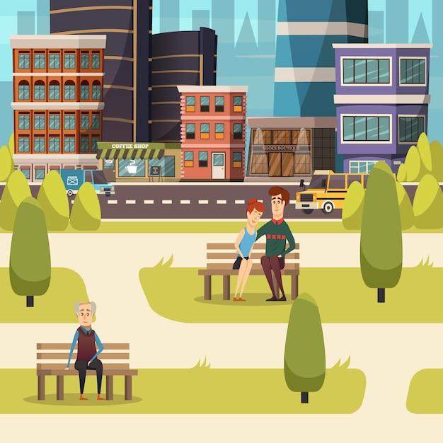 Fondo de paisaje de la ciudad vector gratuito