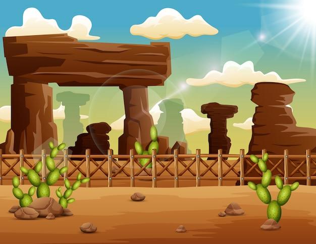 Fondo del paisaje del desierto con rocas y cactus Vector Premium