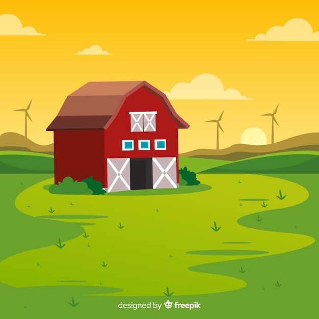 Fondo de paisaje de granja en diseño plano vector gratuito