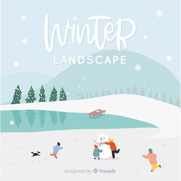 Fondo de paisaje invernal vector gratuito