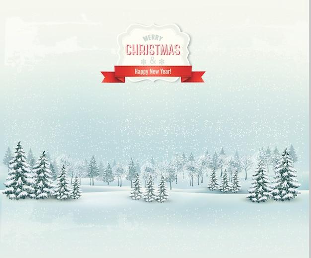 Fondo de paisaje de invierno de navidad. Vector Premium