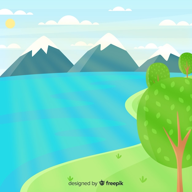 Fondo de paisaje de naturaleza en diseño plano vector gratuito