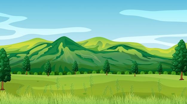 Un fondo de paisaje de naturaleza verde vector gratuito