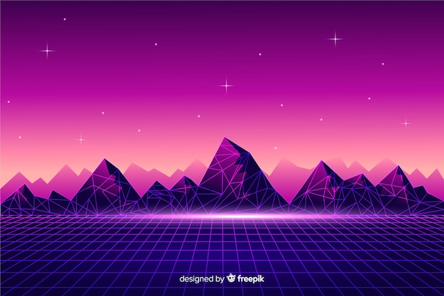 Fondo con paisaje retro futurista de ciencia ficción, color morado vector gratuito