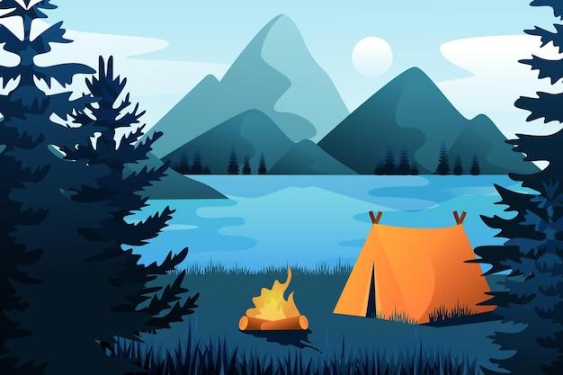 Fondo de paisaje de verano para zoom con carpa y montañas Vector Premium