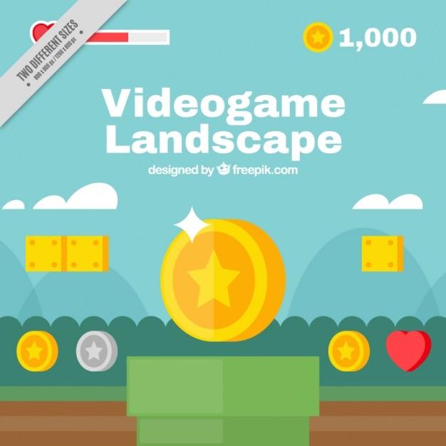 Fondo de paisaje de videojuego Vector Premium