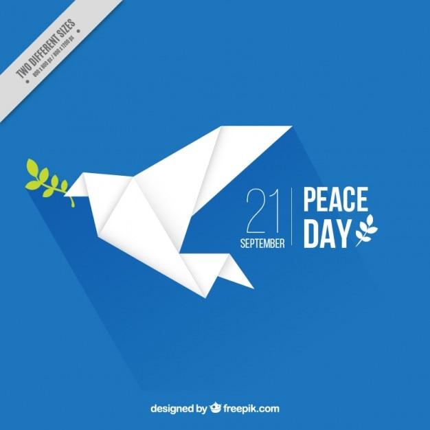 Fondo con una paloma de la paz de origami vector gratuito