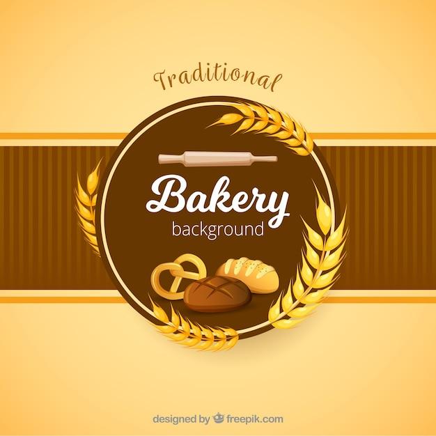 Fondo de panadería en estilo plano vector gratuito