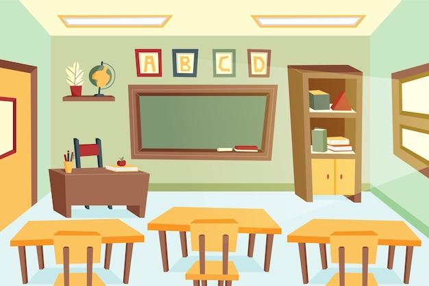 Fondo de pantalla de clase escolar vacía para videoconferencia vector gratuito