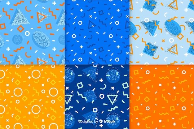 Fondo de pantalla de colección de patrones de memphis vector gratuito