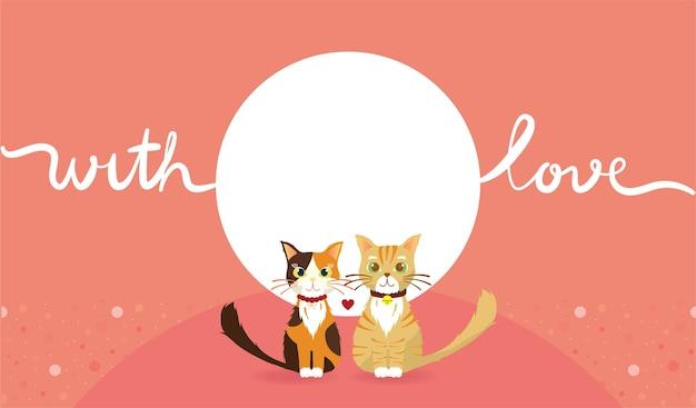 Fondo De Pantalla De Color Rosa De Pareja De Gato Con Amor