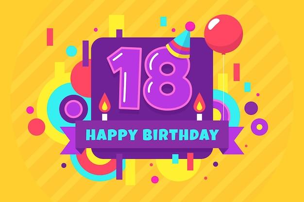 Fondo de pantalla colorido feliz cumpleaños número 18 vector gratuito