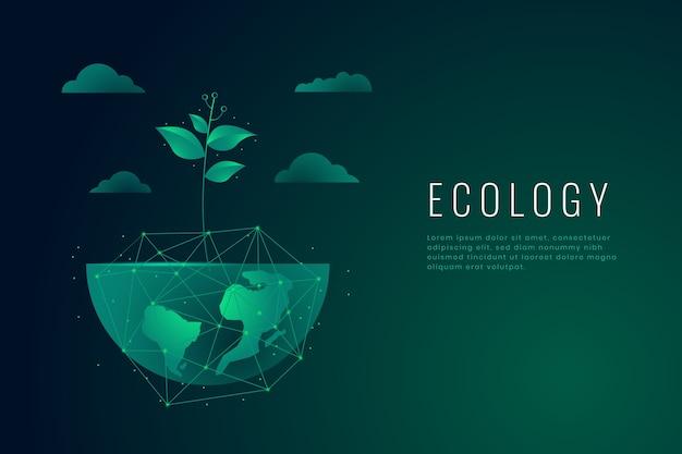 Fondo de pantalla de concepto de ecología vector gratuito