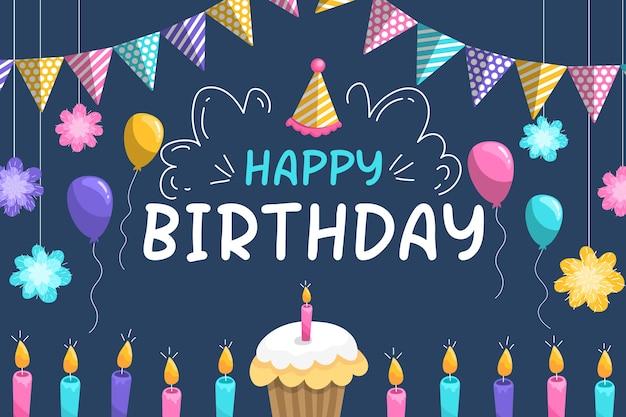 Fondo de pantalla de cumpleaños colorido vector gratuito
