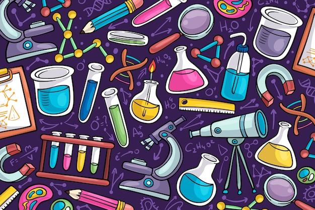 Fondo de pantalla de educación científica dibujado a mano vector gratuito
