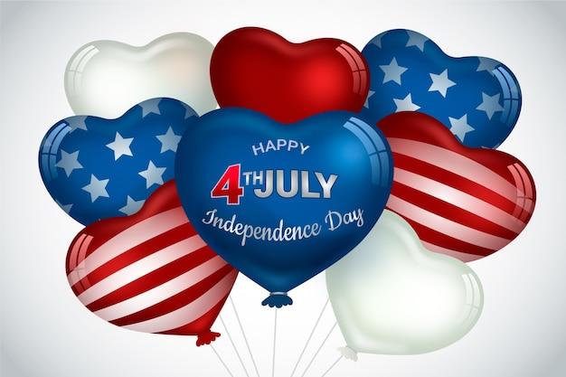 Fondo de pantalla de globos del día de la independencia vector gratuito