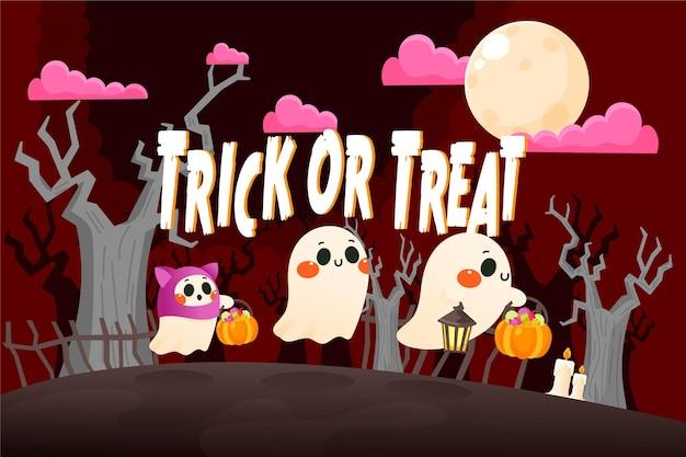 Fondo de pantalla de halloween dibujado a mano con personajes espeluznantes vector gratuito