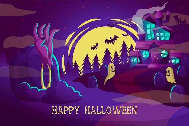 Fondo de pantalla de halloween dibujado a mano vector gratuito