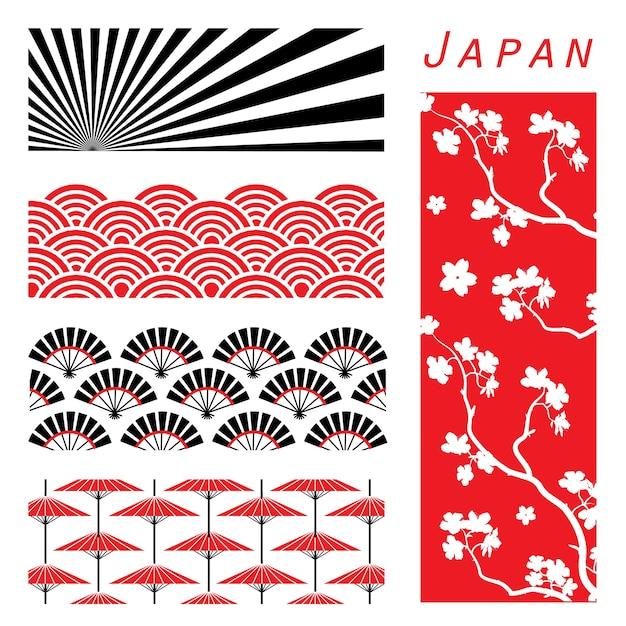 Fondo de pantalla de japón fondo de decoración vector de dibujos animados de diseño Vector Premium