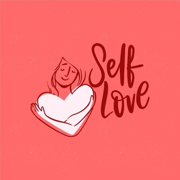 Fondo de pantalla de letras de amor propio vector gratuito