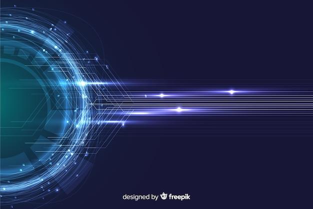 Fondo de pantalla de partículas de tecnología abstracta vector gratuito