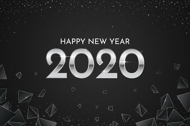 Fondo de pantalla de plata año nuevo 2020 vector gratuito