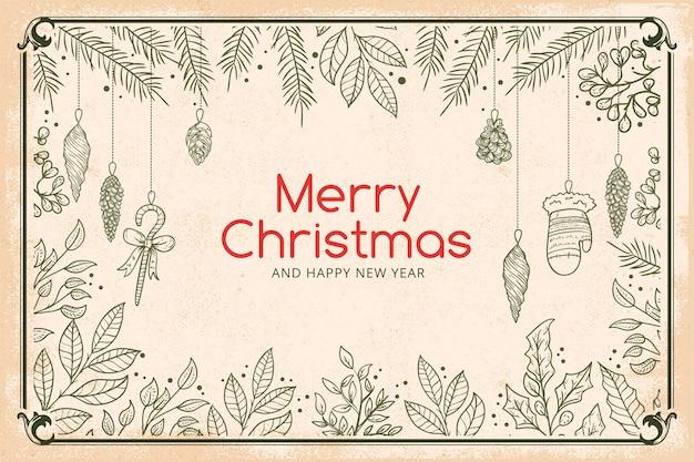 Fondo de pantalla de ramas de árboles de navidad vintage vector gratuito