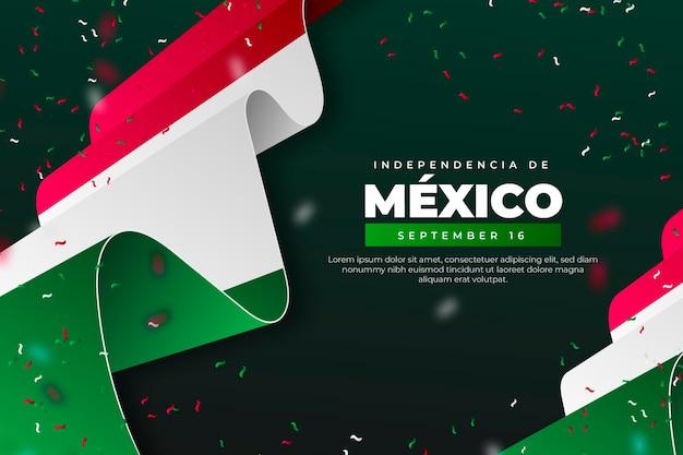 Fondo de pantalla realista del día de la independencia de méxico con banderas Vector Premium