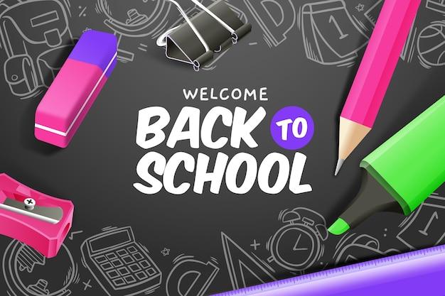 Fondo de pantalla de regreso a la escuela vector gratuito