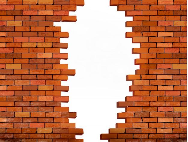 Fondo de pared de ladrillo vintage con agujero. Vector Premium
