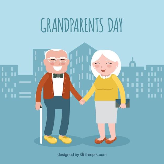 Fondo de pareja de abuelitos felices en la ciudad | Vector Gratis