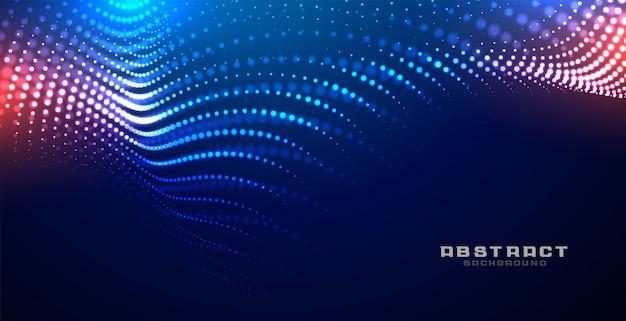 Fondo de partículas de malla de onda brillante de tecnología vector gratuito