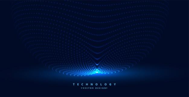 Fondo de partículas de tecnología con fuente de luz vector gratuito
