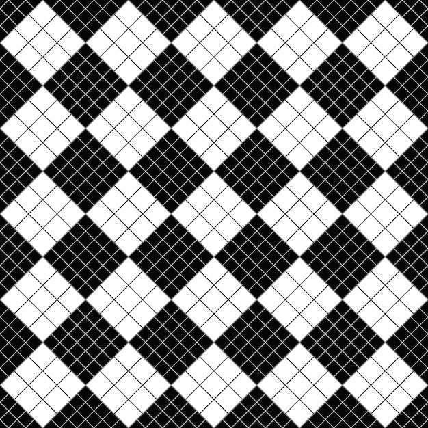 Fondo de patrón cuadrado diagonal blanco y negro Vector Premium