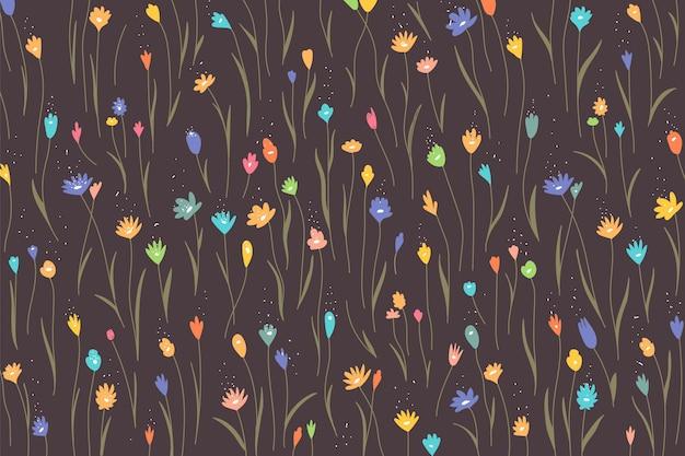 Fondo de patrón floral colorido Vector Premium