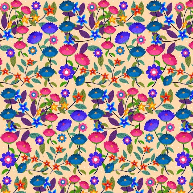 Fondo de patrón floral exótico pintado a mano vector gratuito