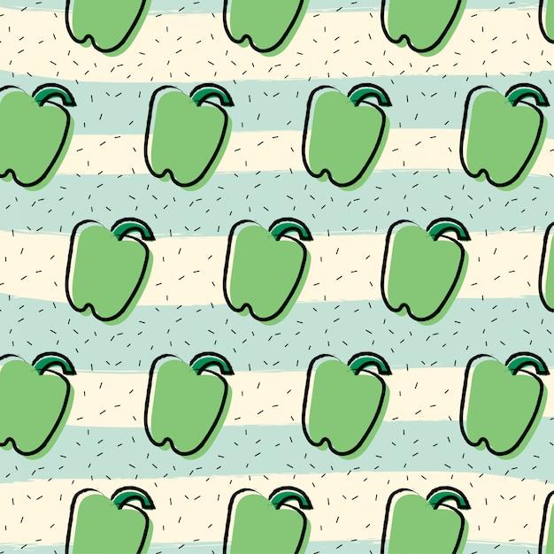 Fondo de patrón de fruta de pimentón pimiento verde Vector Premium