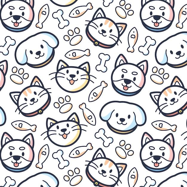 Fondo del patrón de mascotas Vector Premium