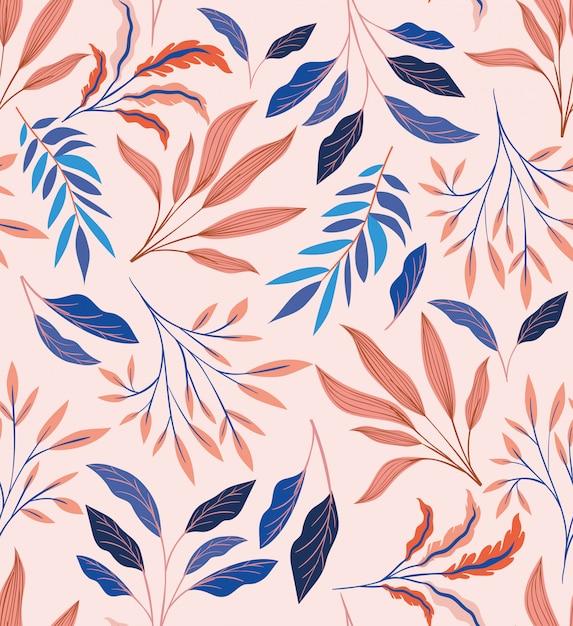 Fondo de patrón natural de hojas de colores vector gratuito