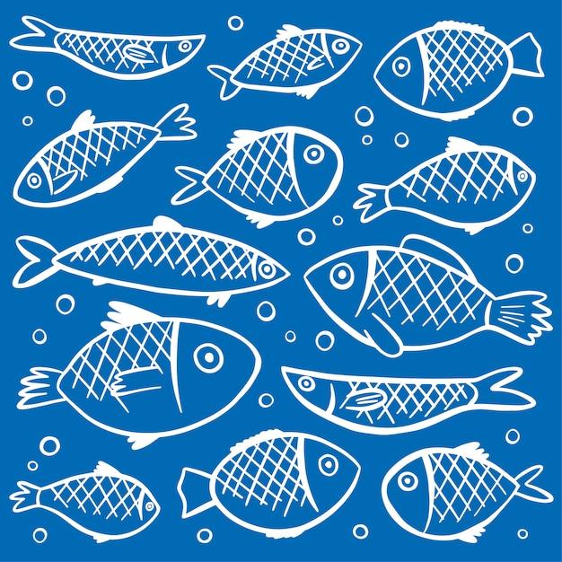 Fondo con patrón de peces vector gratuito