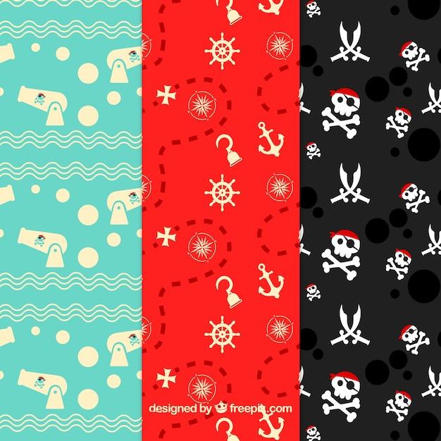 Fondo con patrón de piratas vector gratuito