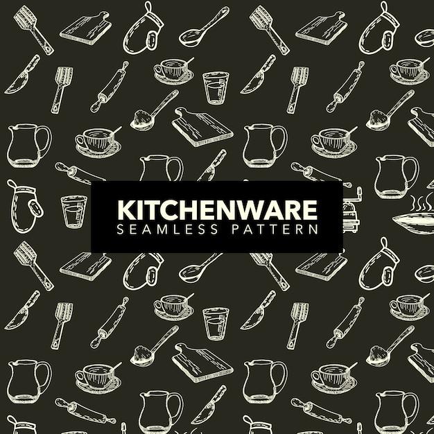 Fondo con patrón de utensilios de cocina vector gratuito