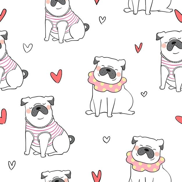 Fondo de patrones sin fisuras lindo perro pug doodle estilo ...